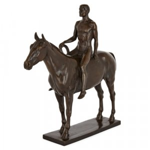 Bronze horse and rider sculpture by Splieth