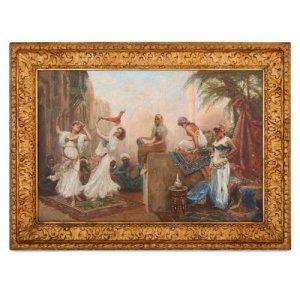 'Danseuses dans le souk', Orientalist painting by Fabio Fabbi