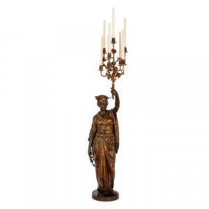 'Femme Japonaise', bronze figural torchère by Guillemin