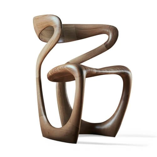 'S Chair', handmade abstract wooden chair by Tom Vaughan