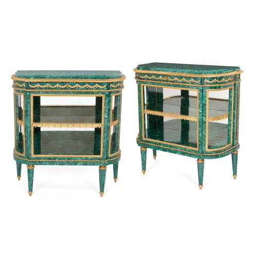 Pair of Louis XVI style ormolu and malachite desserte consoles