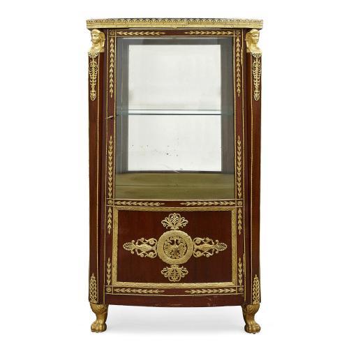 Empire style ormolu mounted antique mahogany vitrine