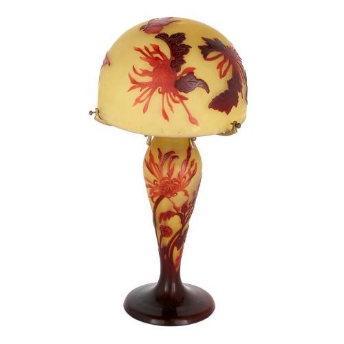 Art Nouveau French antique glass lamp by É. Gallé