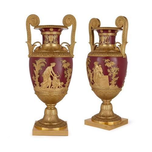 Large pair of antique Russian ormolu mounted metal vases
