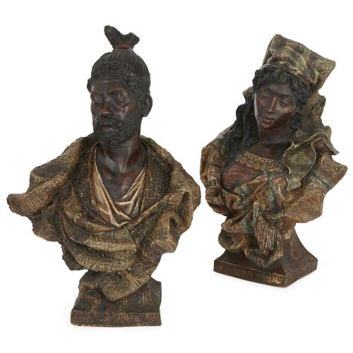 Pair of Austrian orientalist terracotta busts by Goldscheider