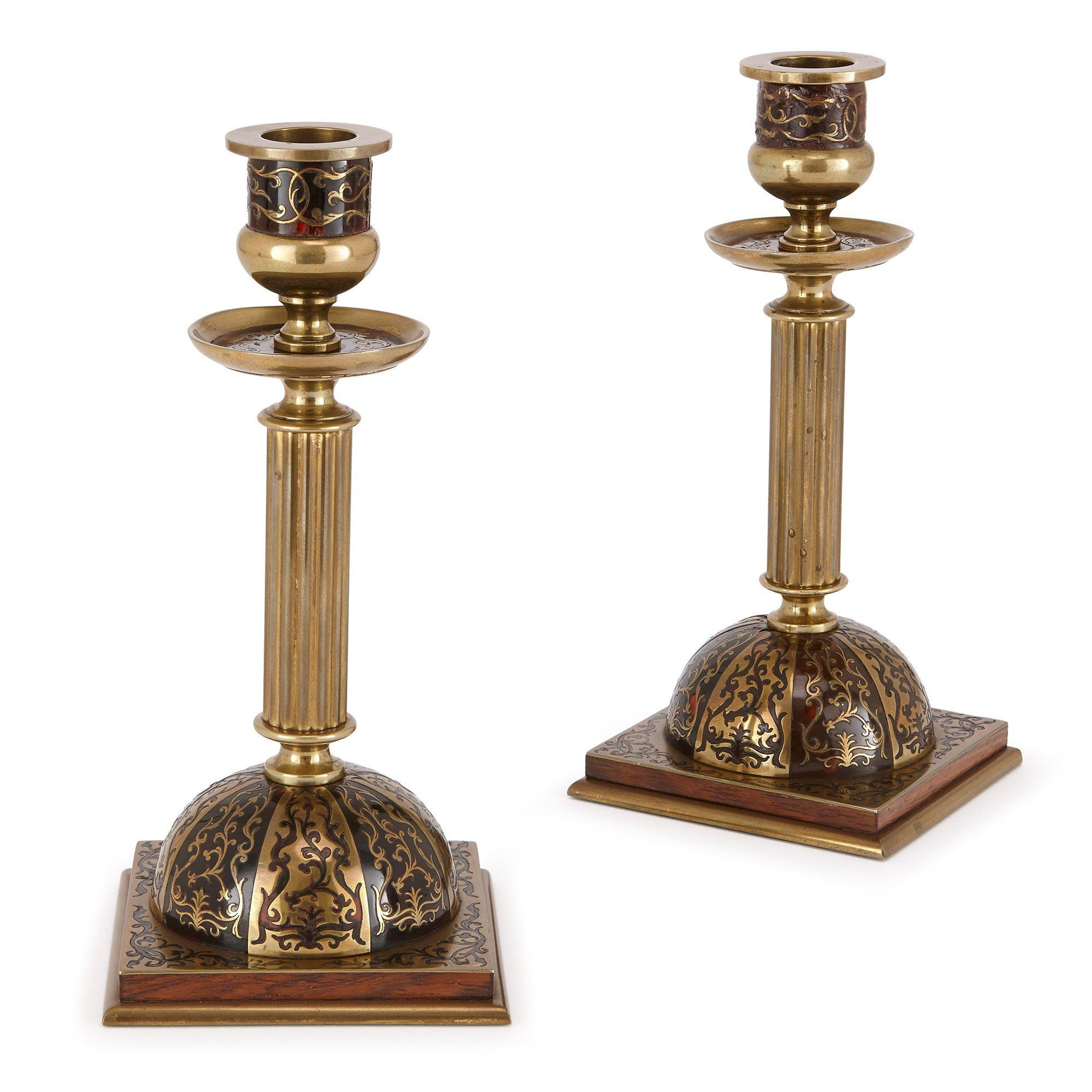 Pair Of Antique Brass Candlesticks With Boulle Decorations