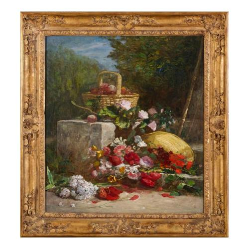 'Apples and Poppies', still life painting by Eugène Boudin