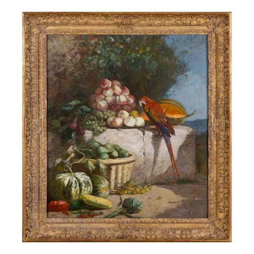'Perched Parrot with Fruit', still life painting by Eugène Boudin