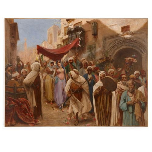 Orientalist painting of a wedding procession by Fabio Fabbi