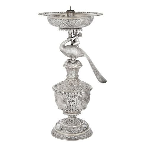 Indian repoussé silver rosewater fountain by Oomersi Mawji