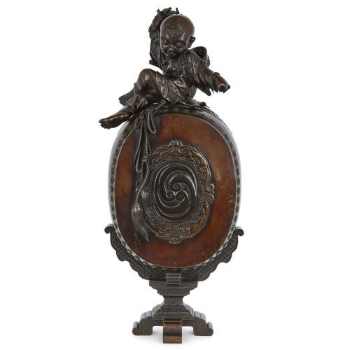 Large Japanese Meiji period patinated bronze koro