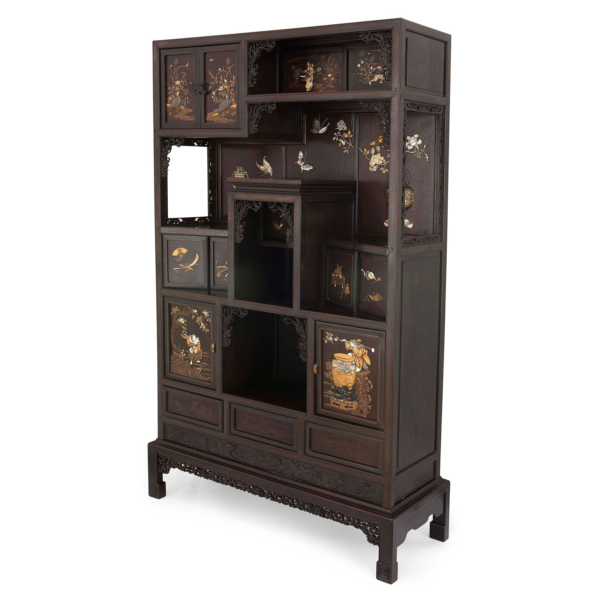 Anese Ivory And Mother Of Pearl Inlaid Hardwood Cabinet