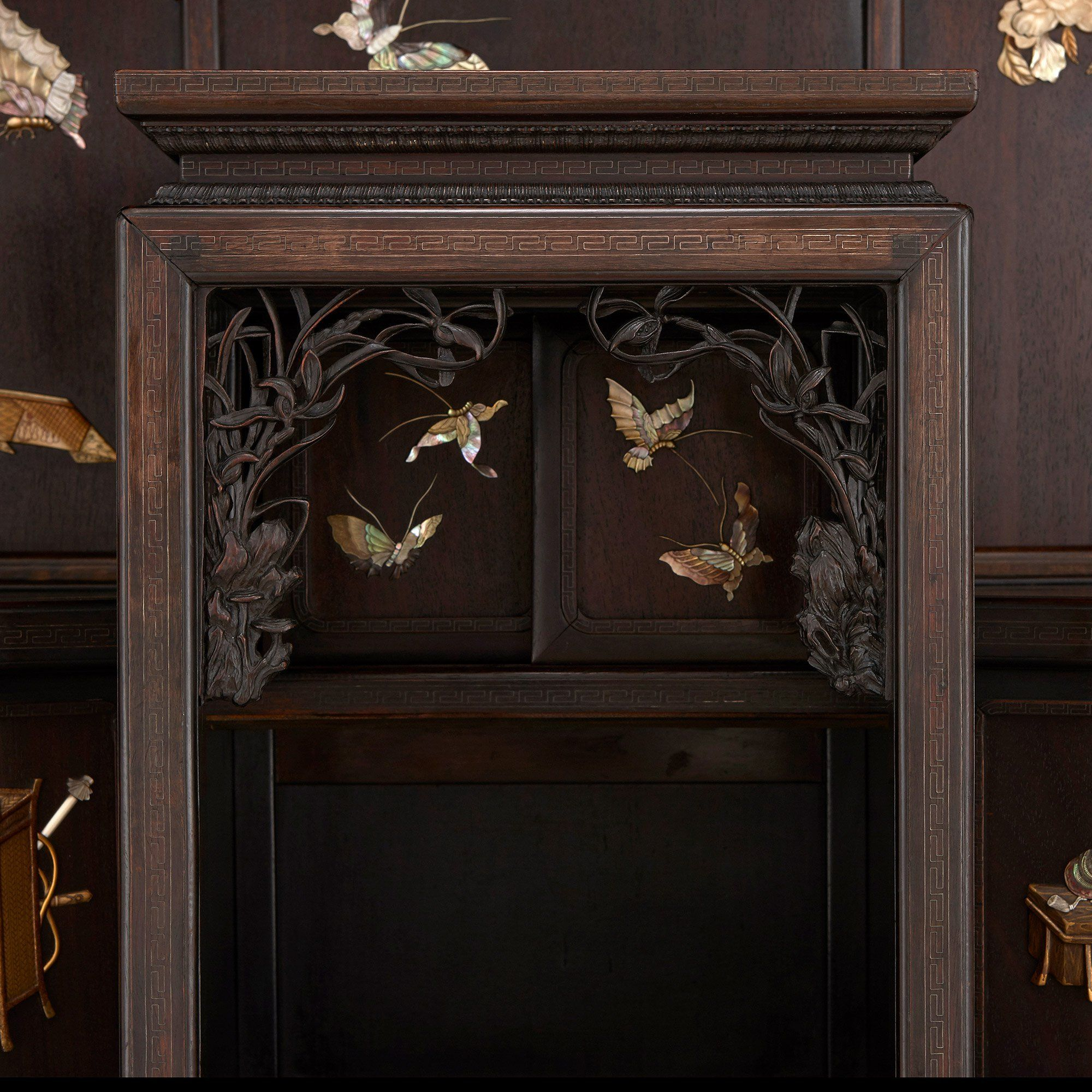 Japanese Ivory And Mother Of Pearl Inlaid Hardwood Cabinet