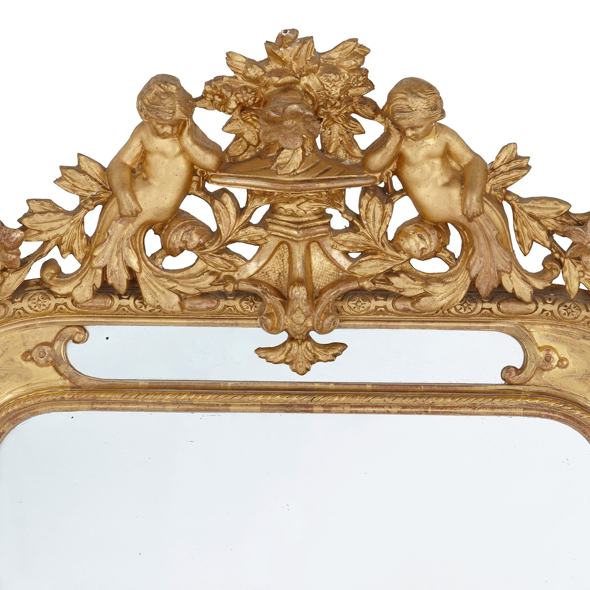 Pair Of French Antique Carved Giltwood Mirrors With