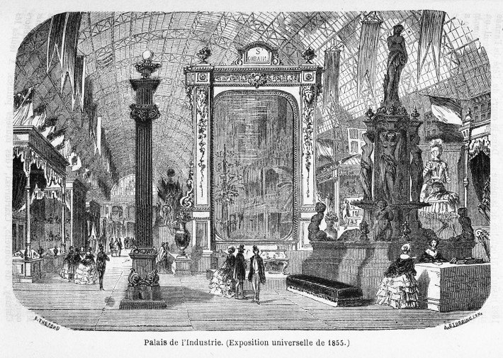Interior of the Palais de l'Industrie built for the Exposition Universelle, Paris, in 1855