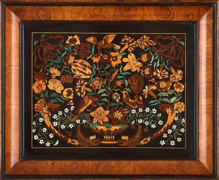 antique-french-ebonised-wood-floral-marquetry-panel
