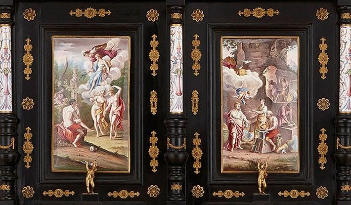 19th century viennese enamel cabinet