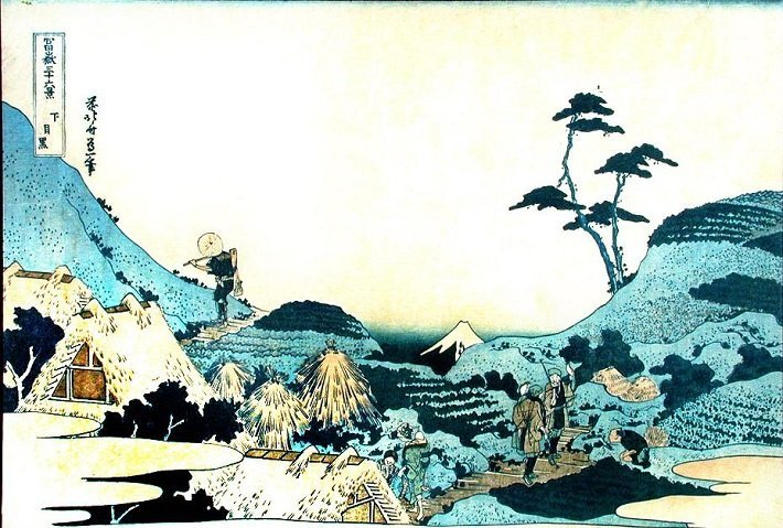 landscape with two falconers by hokusai