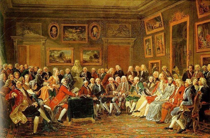 A reading of Voltaire at the Salon_de_Madame_Geoffrin, 1812