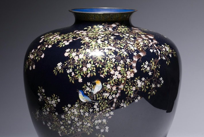 Meiji period cloisonne vase with birds and flowers