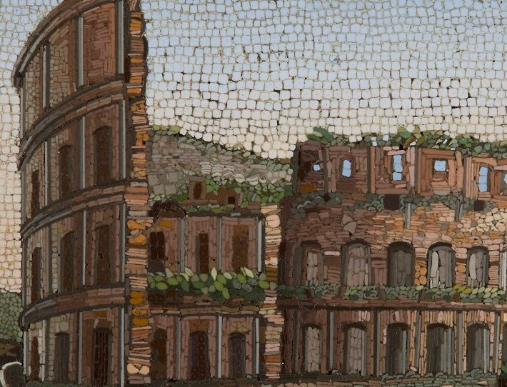 Detail from an antique micromosaic plaque depicting the Colosseum in Rome