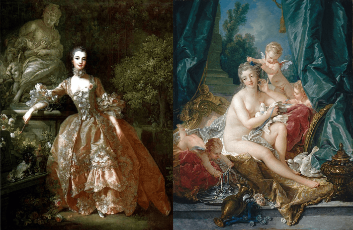 Portrait of madame de pompadour with Toilette de Venus, both by Francois Boucher