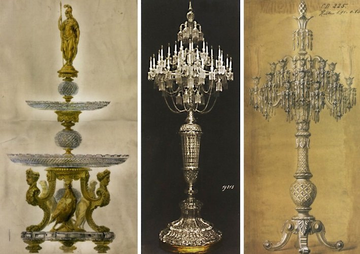 Drawings of a gilt bronze mounting and two monumental candelabra from the Baccarat archives, Paris