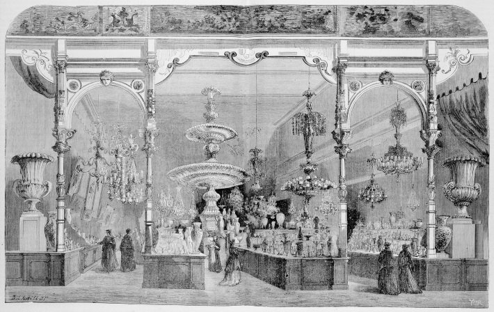 Baccarat's display at the 1867 Paris Exposition Universelle