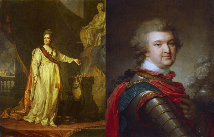 Painting of Catherine the Great together with a painting of her lover, Grigory Potemkin