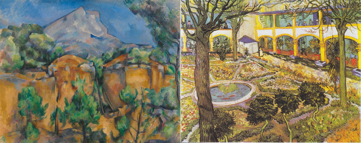 Mont Saint Victoire by Cezanne, with a Van Gogh painting