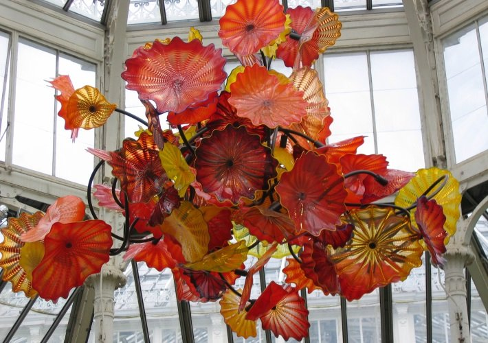 Dale Chihuly floral glass installation at Kew Gardens, London, England