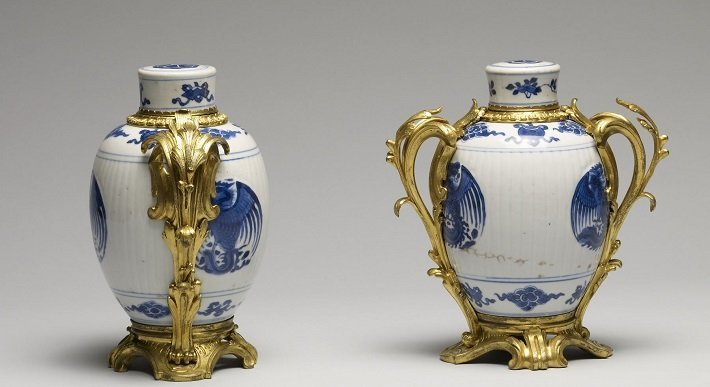 Chinese blue and white jars with French ormolu mounts