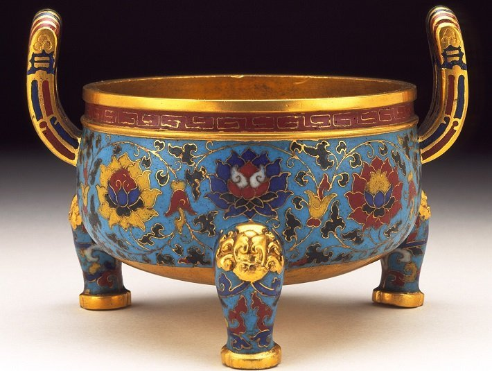 Chinese Ming Dynasty cloisonne enamel incense burner