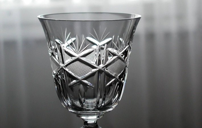 Top of a cut and engraved crystal wine glass