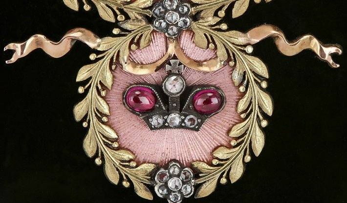 Detail of a Faberge style table clock