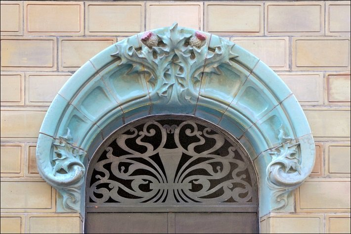 art nouveau style doorway in paris
