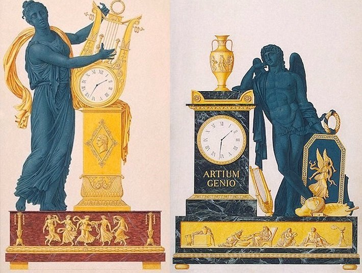Sketches of two Empire period mantel clocks