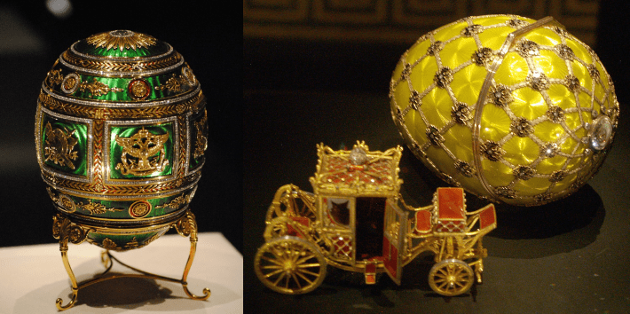 Photo of the Napoleonic Faberge egg together with a photo of the Imperial Coronation Faberge egg