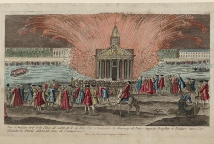 firework display at the wedding of marie antoinette and louis xvi in 1774