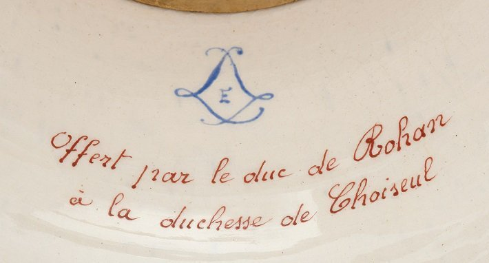Interlaced 'l' mark on a Sevres style porcelain piece