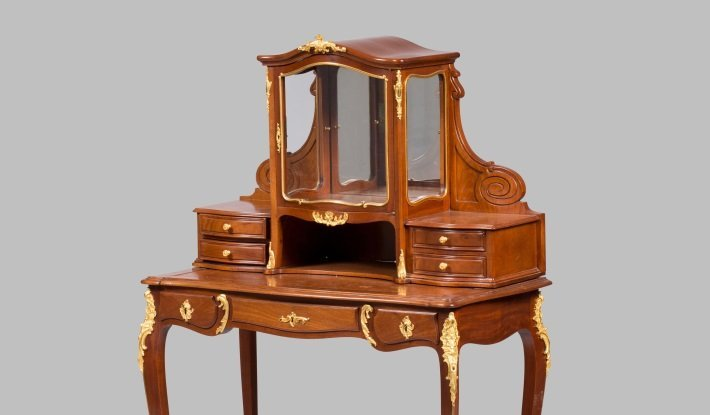 antique mahogany bonheur du jour by guillaume grohe, 19th century