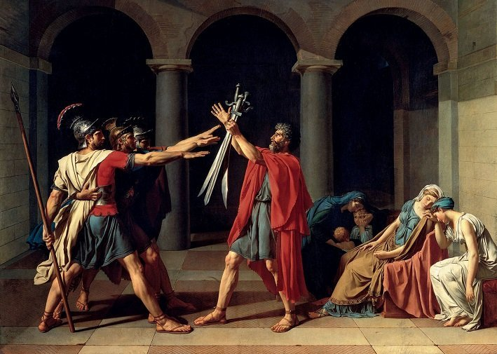 neoclassical painting david oath of the horatii
