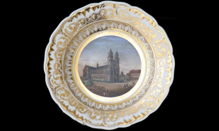 KPM porcelain plate with veduta of Magdeburg Cathedral, c. 1844
