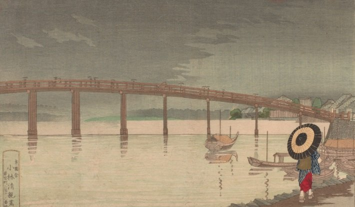 View of Tokyo's Shin-Ohashi bridge in Rain by Kobayashi Kiyochika