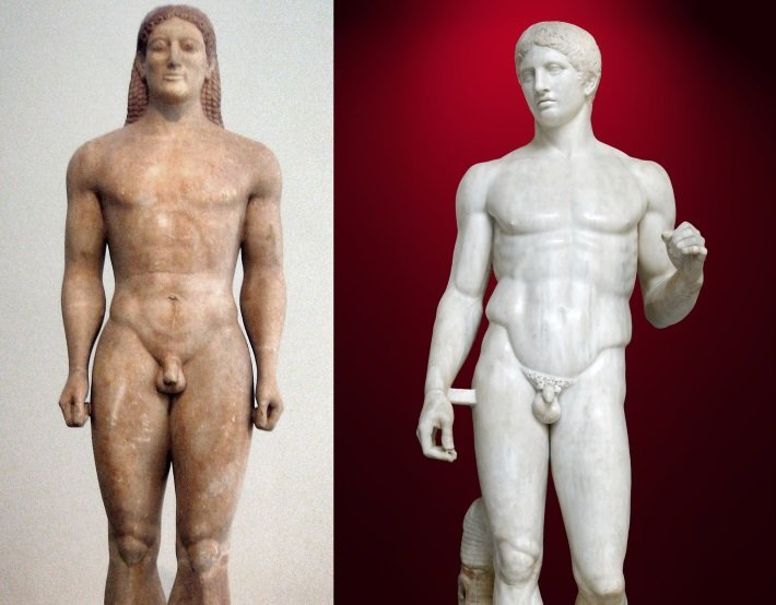 anavissos kouros and polykleitos spear bearer