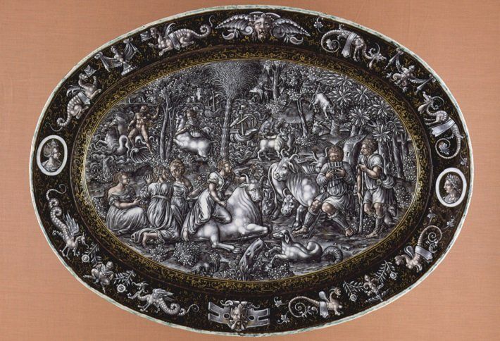 Limoges grisaille enamelled platter depicting the Rape of Europa, c. 1560