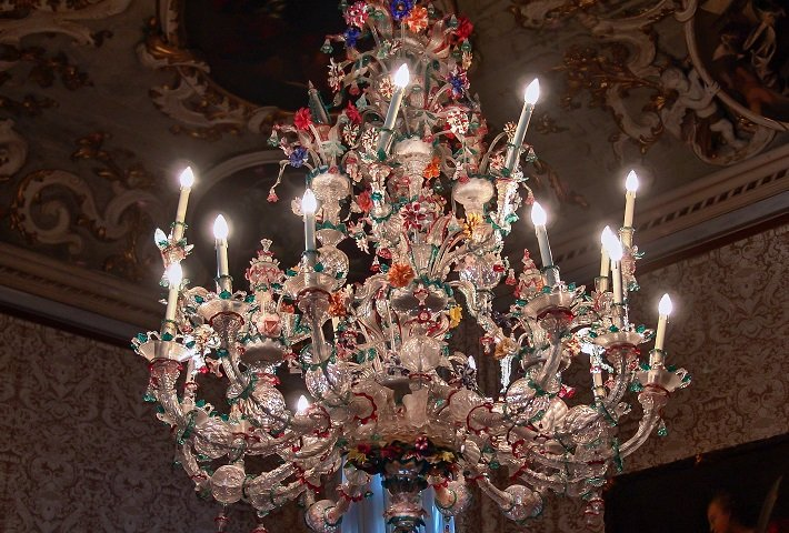 Murano glass chandelier at Ca' Rezzonico in Venice