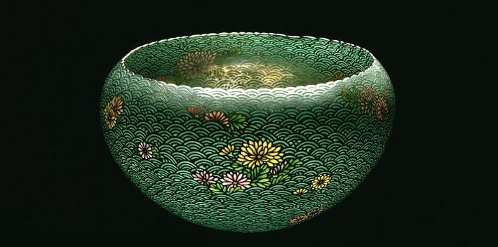 Plique-a-jour enamel bowl by Namikawa Sosuke, c. 1900