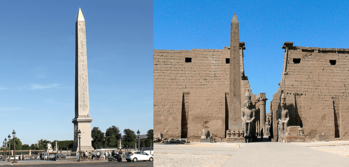 Photo of the Obelisk in Place de la Concorde, Paris, together with a photograph of the Luxor Obelisk in Luxor