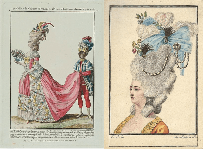 Examples of two pouf hairstyles in historic drawings on paper